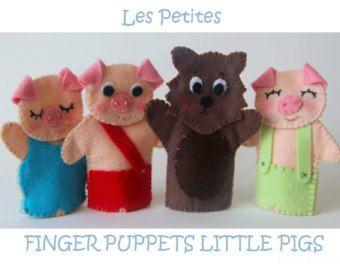 Tres pequeños cerdos títeres de dedo por LittleDaintyDarlings