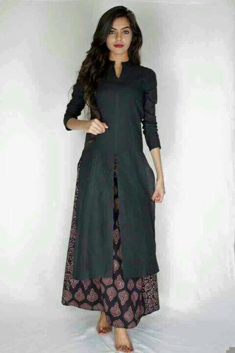 5f498e4cd Black cotton kurti with printed plazo.