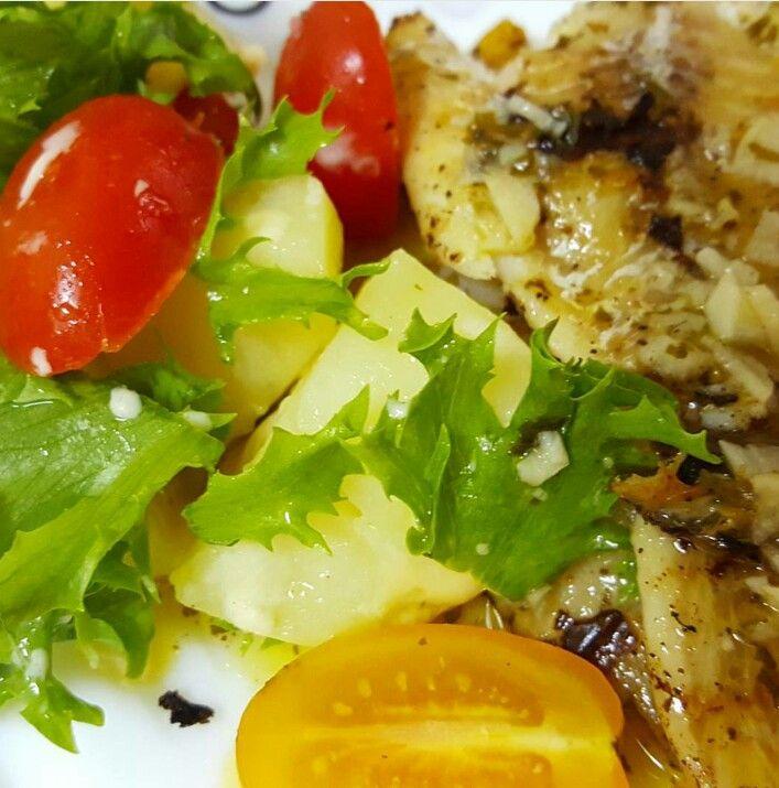 Pollack fillet, potatoes salad with parsley lemon source #mykitchen #cleanfoodshare