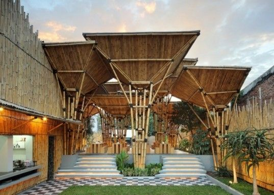 A beautiful open air Japanese noodle house in Indonesia. Oh, and it's made entirely of bamboo. Gorgeous!