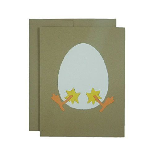 Easter Egg and Chick Handmade Greeting Card - Kraft Brown Card with Egg and Chick for Easter