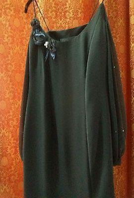 Vestito elegante donna blu notte nero mamma sposo manica velata taglia occasione