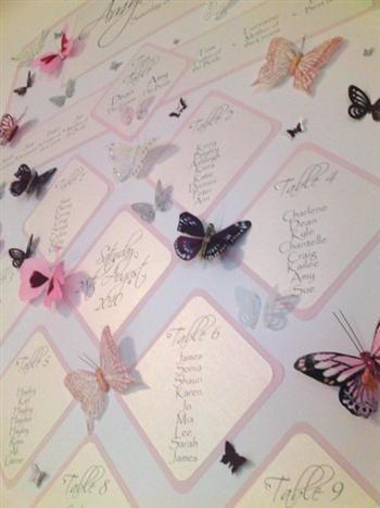 A lovely butterfly themed wedding table plan - http://www.flutterbycouture.co.uk/page11.php