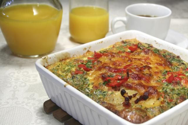 This hearty breakfast casserole features the major breakfast food groups - eggs, sausage, and potatoes.