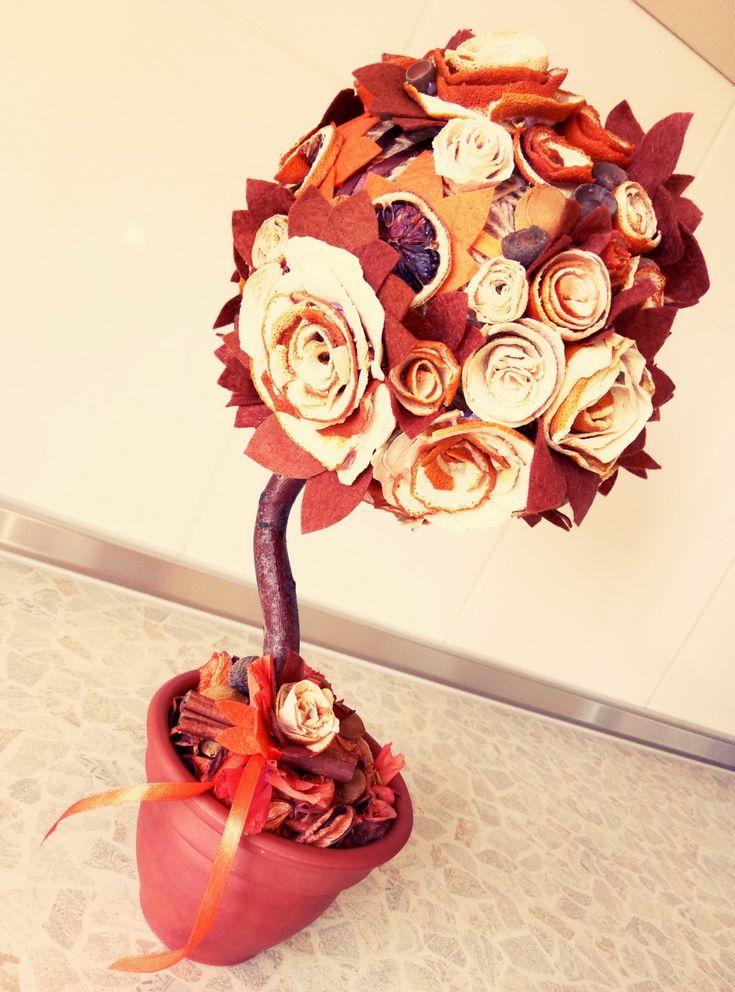 Топиарий с розами из апельсиновой кожуры | how to make topiery roses flower from oranges. #топиариитихонова #handmade #decor #рукоделие #топиарий