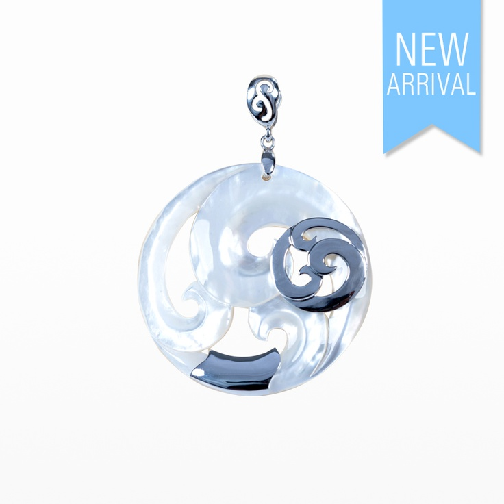 Pendant Wave Carved Mother of Pearl with Silver #Pendant #NewArrivals #GinaAdornments