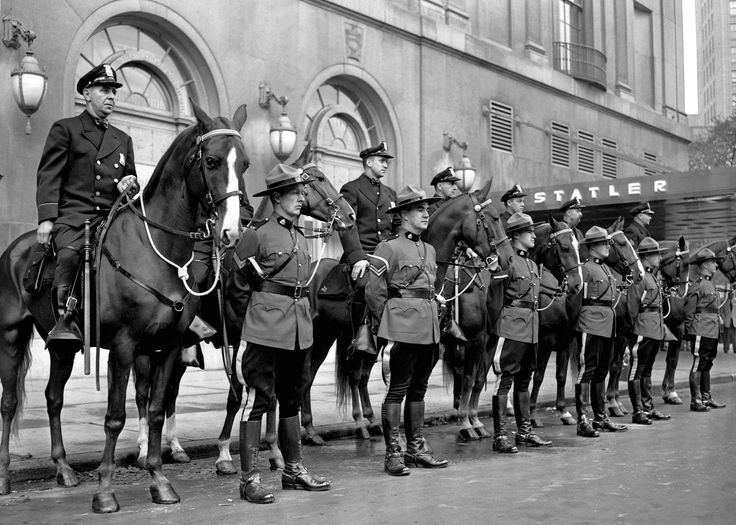 Detroit Police and RCMP: 1951.  On July 24, 1951, the city of Detroit celebrated its 250th anniversary. To honor the occasion, a number of special events were held. This photo, shot by  Howard McGraw of the Detroit News, depicts the Detroit police on horseback with the RCMP. (Shorpy)