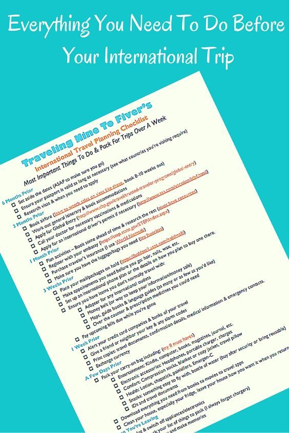 Get a free printable checklist with everything you need to do before taking an international trip. What you need to do before international travel. Checklist for what to do when going abroad. Must do before traveling. What to pack and what to do.