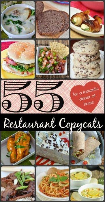 55 Restaurant Copycat Recipes - for a Romantic Dinner at Home #recipes #restaurant #copycat #roundup
