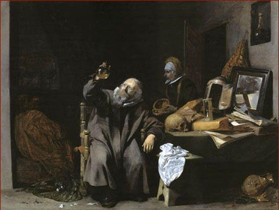 Het doktersbezoek. 1635. Gerard ter Borch (II). Gemäldegalerie, Berlin. Dit werk van Ter Borch was het model voor het schilderij van Gerard Dou: Arts met een urinaal in een venster (de dokter). 1653.