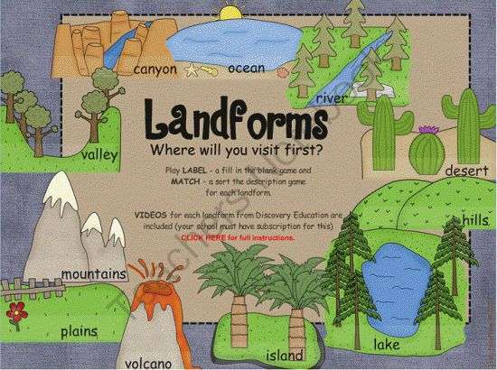Landforms SMARTboard interactive activity- games and Discovery Education links from TinyToes on TeachersNotebook.com -  (27 pages)  - I am SUPER excited about this lesson! This is a fun, interactive SMARTboard .notebook whiteboard activity for Landforms.  Landforms included are: oceans, canyons, valleys, mountains, plains, volcano, island, lakes, hills, deserts, and rivers
