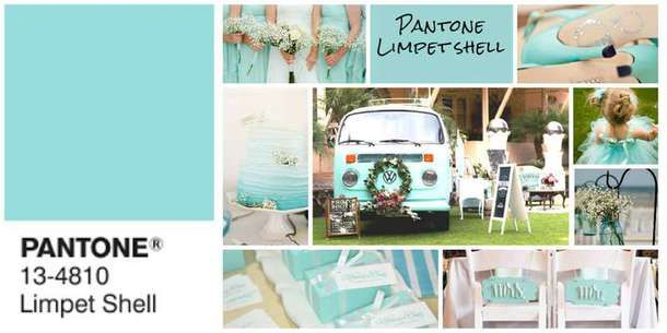 "PANTONE LIMPET SHELL This color evokes feelings of tranquillity and freshness for your wedding. Pantone describes it as ""clear, clean, and defined."" Read more on our Blog: http://www.extraordinaryweddings.com/en/blog/2016-wedding-colors-make-a-splash.html #2016weddingcolors #pantoneweddingcolors2016"