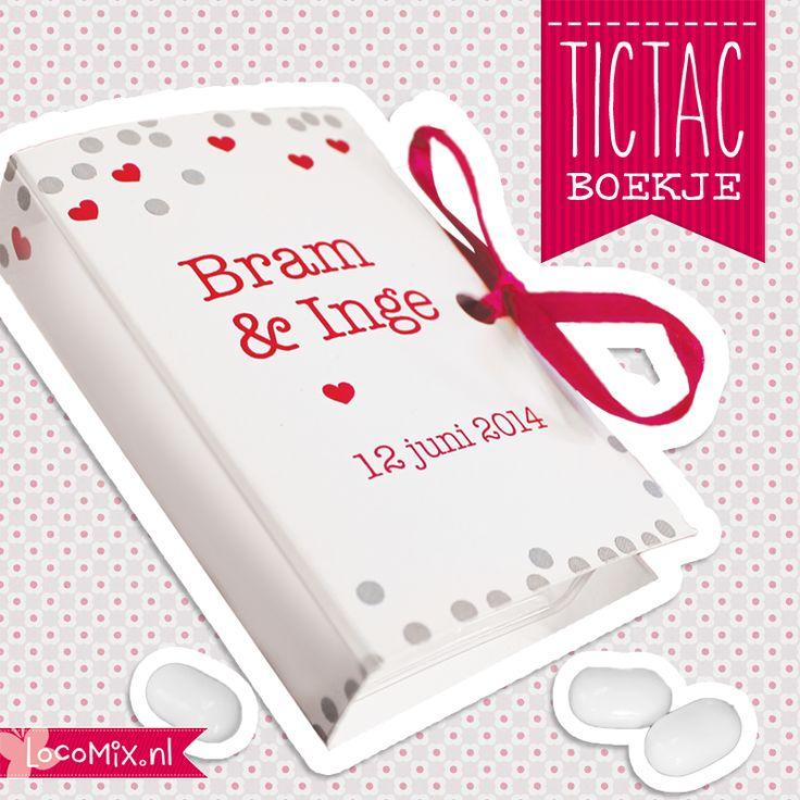 Nieuw! Tic tac boekjes met eigen tekst er op. Leuk om weg te geven als huwelijksbedankje.  #weddingfavor #huwelijksbedankje #tictac #trouwen #wedding  http://www.bedankjes.nu/huwelijksbedankjes/bedankjes-tic-tac/