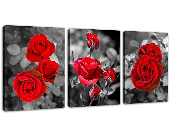 30x30cm Fashion Red Rose Flower Picture Canvas Print Painting Wall Art Decor