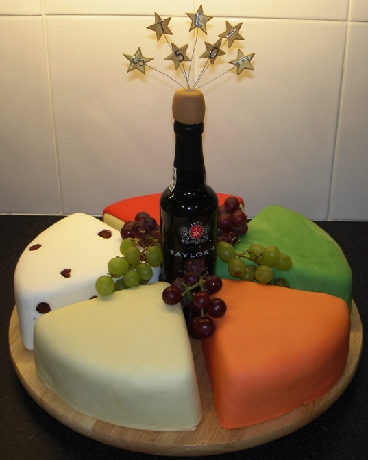 "Cheese & Wine Birthday Cake; This isn't ""Where"" but ""HOW""!  Love love love this cake."