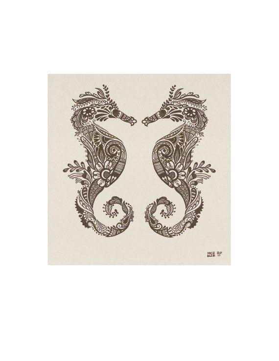 Mehndi stijl zeepaardjes Archival afdrukken 8 x 10 5 x door LunaReef
