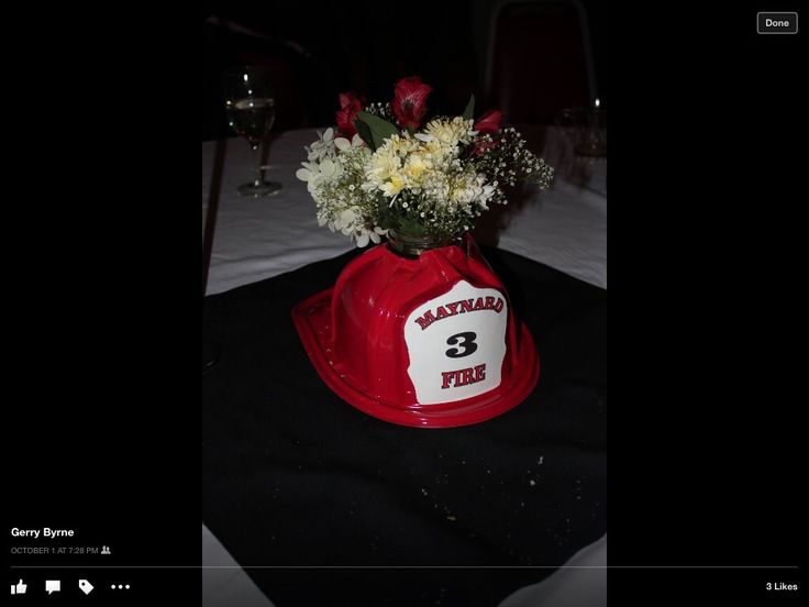 Centerpieces for firefighter retirement party