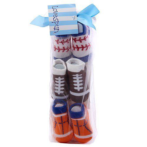 Baby+boys+size+NB-12M+3+pack+of+sports+printed+socks+basketball,+football+soccer+B239