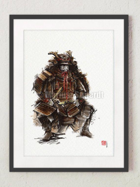Samurai armor - japanese art. Shogun. https://www.etsy.com/listing/215817720/samurai-painting-japanese-war-fan? #shogun #japanesegeneral #japanesewarriors #arte #samuraikrieger #asianposter