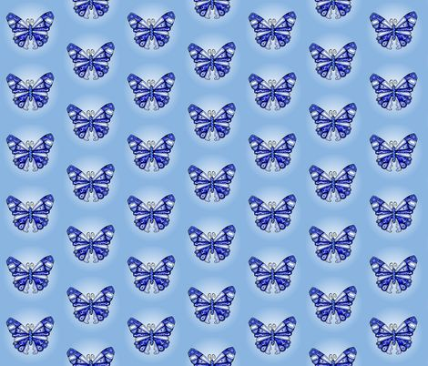 Blue China Butterflies fabric by quirkyhappyart on Spoonflower - custom fabric