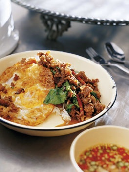 """Chef David Thompson: Stir-fried minced beef with chillies and holy basil (Neua pat bai grapao). """"I like the sauce seasoned with fish sauce alone but some cooks will add a little oyster sauce or even some chilli jam. This dish and an egg or two over some steaming rice, with a bowl of chillies in fish sauce alongside, is Thai ambrosia."""""""