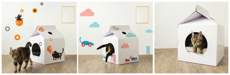 Cat House Made of a Cardboard. Unusual Ideas.