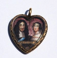 Portrait Miniature -- Charles II and Catherine of Braganza Ruled: 1660-1685 (The Protectorate from 1649-1659) Circa 1662