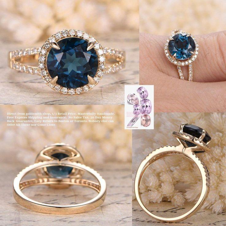 Round London Blue Topaz Engagement Pave Diamond Wedding Ring 14K Yellow Gold 8mm