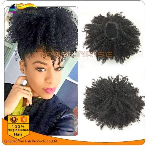 100% human hair drawstring afro kinky curly ponytail,malaysian hair ...