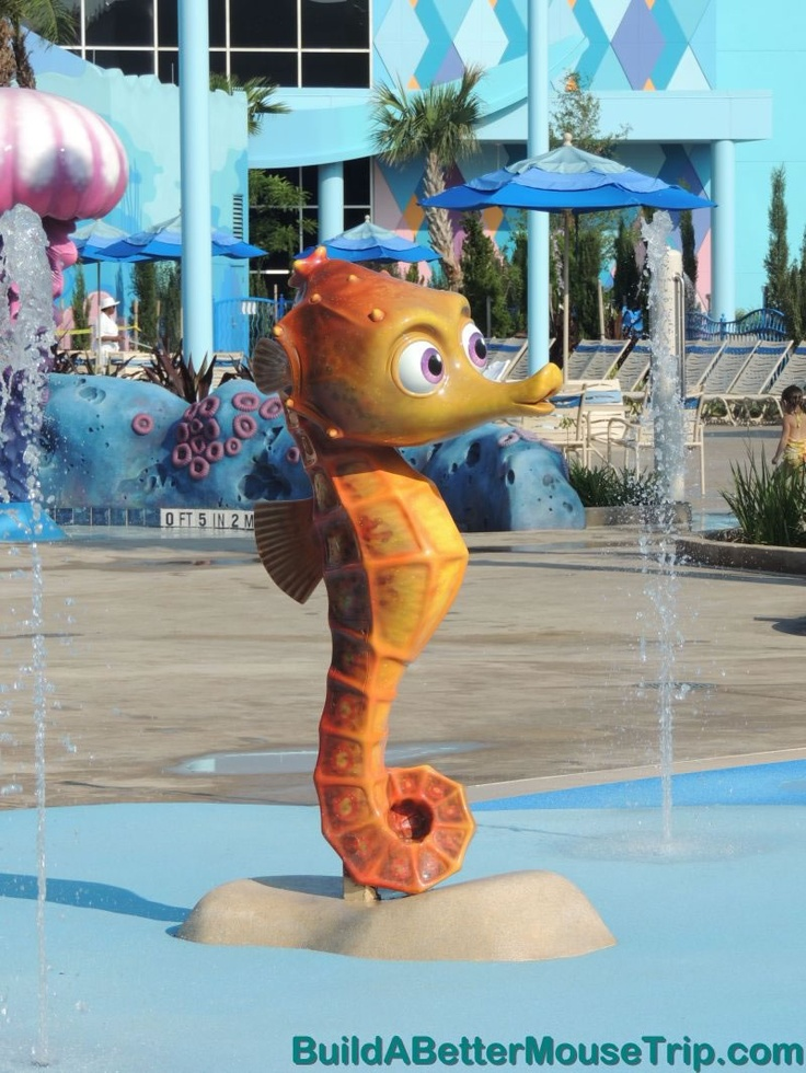 "Sheldon - the little seahorse from ""Finding Nemo - in the children's splash area at Disney's Art of Animation Resort. For more photos, see: http://www.buildabettermousetrip.com/disneys-art-of-animation  #Disneyworld #FindingNemo"