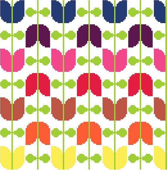 Retro tulips strung on vines. Modern cross stitch pattern. Contemporary cross stitch design.