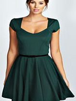 boohoo Sweetheart Neck Skater Dress - bottle azz46302 A classic little black dress is a staple for any wardrobe. Update with an art deco clutch , chandelier earrings and sparkly court heels