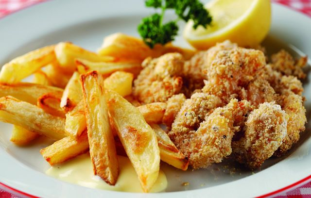Sixties scampi and chips with homemade salad cream- want the salad cream recipe!! :D