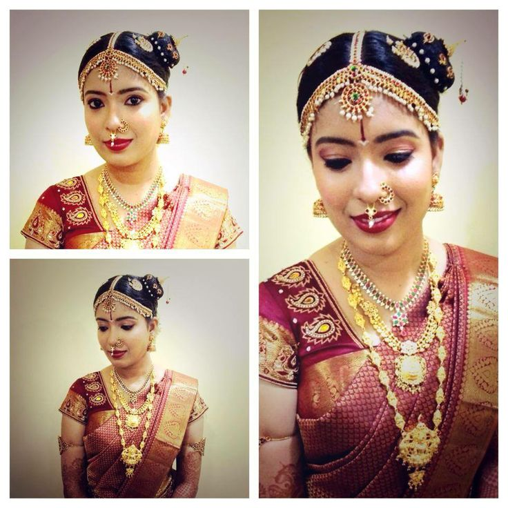 Traditional South Indian Iyengar bride wearing bridal saree and jewellery. Muhurat look. Makeup by Swank Studio. Find us at https://www.facebook.com/SwankStudioBangalore