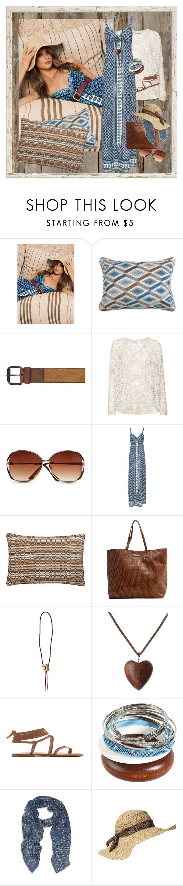 """Mango Summer 2012"" by halebugg ❤ liked on Polyvore featuring MANGO, Jonathan Adler, AllSaints, Crate and Barrel, River Island, Denim & Supply by Ralph Lauren, gladiator sandals, wood, flame stitch pillow and woven tote"