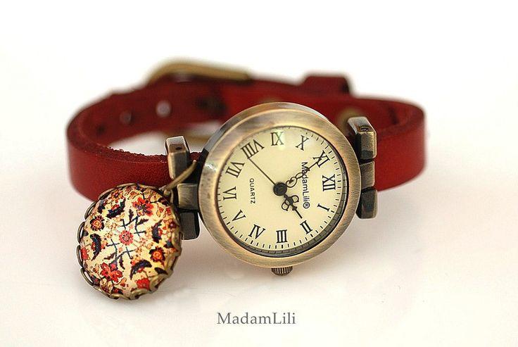 Armbanduhr Orientalischer Teppich Echtleder - MadamLili | Vintage Modeschmuck - handgemacht