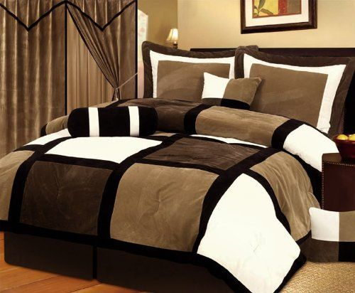 7 Pieces Brown Amp Beige Micro Suede Patchwork Comforter Set