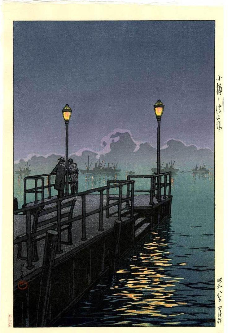 HASUI - Japanese Woodblock Print - Harbor at Night, Otaru 1933