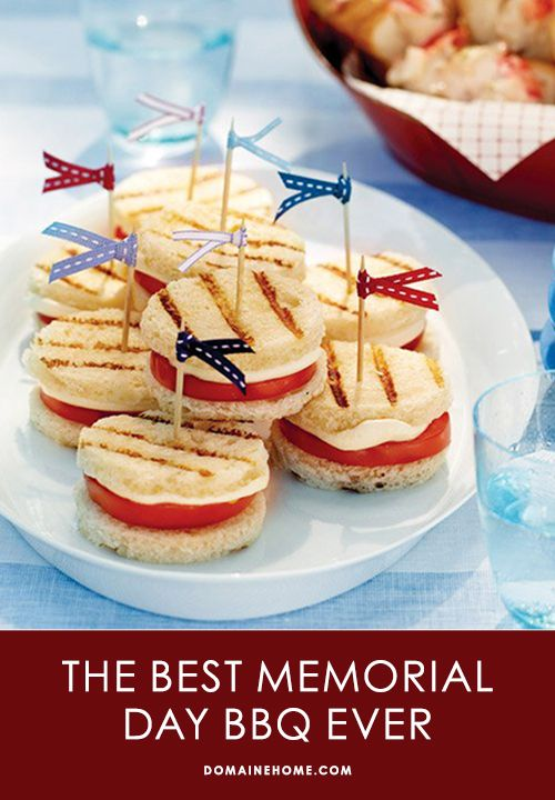 What to Cook For the Best Memorial Day BBQ Ever // recipes, cooking, entertaining: Grilled Tomato And Mozzarella, Idea, Recipe, Festive Touch, Memorial Day, Food, Mozzarella Sandwiches, Tomatoes, Tomato Sandwich
