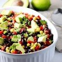 http://therichmondavenue.com/black-bean-salad-with-corn-red-peppers-and-avocado-in-a-lime-cilantro-vinaigrette/
