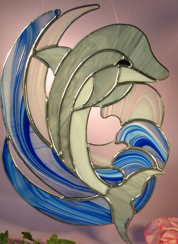 Stained Glass Dolphin от StainedGlassbyWalter на Etsy