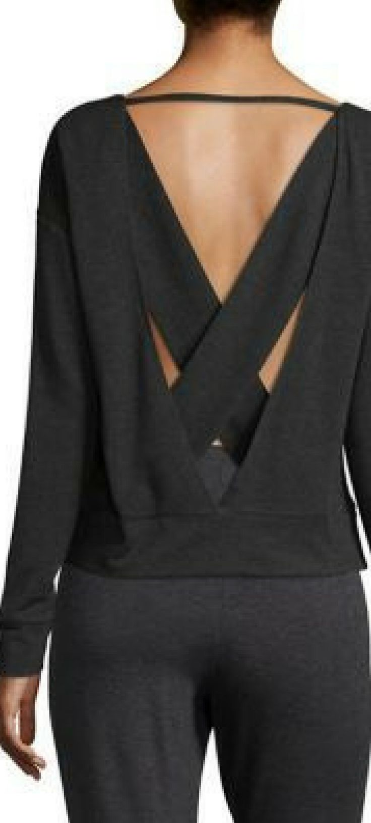 Alo Yoga Uplift Cross-Back Sweatshirt Open cross-back active sweatshirt. #workoutclothes #ad #womensfashion