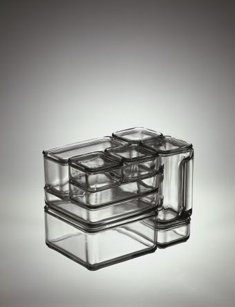 """Kubus"" Modular Container Set- 16 piece   Corning Museum of Glass Wilhelm Wagenfeld"