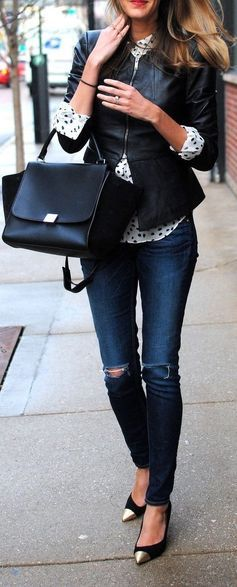 #street #style fall / leather + denim