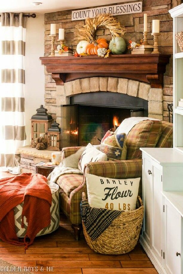 Charming Stone Fireplace In Family Room With Fall Decor And Lanterns   This Fall  Home Tour Is Amazing!