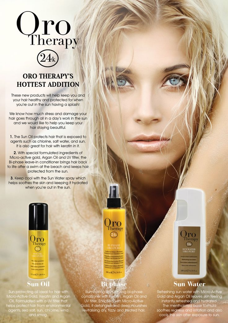 ORO Therapy 24K gold products. A must have for anyone who spends time in the Sun. Protect your hair with the newest ORO products from Fanola. www.amrhair.com.au
