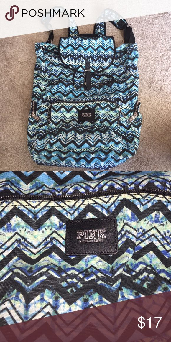 PINK backpack All shades of blue with a chevron design! Super cute! Bags Backpacks