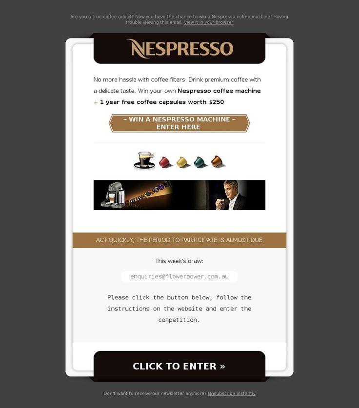 Win a Nespresso Coffee Machine Scam - http://www.mailshark.com.au/recent-security-news/win-a-nespresso-coffee-machine-scam-23951