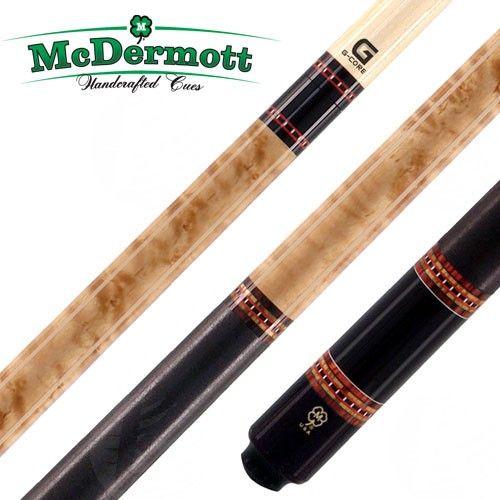 La queue de billard américain McDermott G225 est faite en Erable moucheté avec une teinture couleur noyer. Elle a aussi 5 jeux de bagues décoratives faites de Cocobolo, Bocote et de bagues à carreaux, ainsi qu'un grip en lin Irlandais véritable.  Les queues de billard McDermott sont connues pour leur qualité et leur fiabilité. Elles sont fabriquées aux USA et elles sont aussi garanties si elles se tordent.