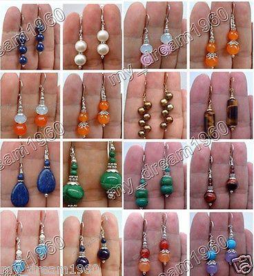 Handmade Natural Jade,Agate,Turquoise,pearl Gemstone Leverback Dangle Earrings